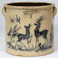 "Lehman & Co West St NY"", 3 gallon crock with deer. Antique Crocks, Old Crocks, Antique Stoneware, Stoneware Crocks, Antique Pottery, Earthenware, Wooden Snowmen, Primitive Snowmen, Primitive Crafts"
