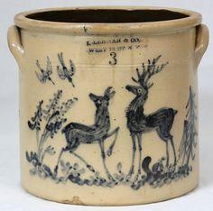 "Lehman & Co West St NY"", 3 gallon crock with deer. Antique Crocks, Old Crocks, Antique Stoneware, Stoneware Crocks, Antique Pottery, Primitive Antiques, Earthenware, Wooden Snowmen, Primitive Snowmen"