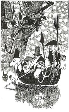 """The Hunting of the Snark"" by Lewis Carroll. Illustrated by Tove Jansson Tove Jansson, Alphonse Mucha, Les Moomins, Lewis Carroll, Black And White Illustration, Grafik Design, Children's Book Illustration, Troll, Book Art"