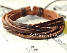 Christmas Gift, Winter Gift, Brown leather bracelet, Cool Fashion Multilayer Weaved Brown Leather cuff Wrap Bracelet on Wanelo