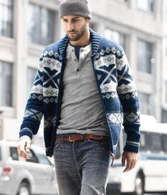 Men's Navy Fair Isle Zip Sweater, Grey Henley Sweater, Navy Crew-neck T-shirt, Grey Jeans Mode Masculine, Sharp Dressed Man, Well Dressed Men, Stylish Men, Men Casual, Casual Menswear, Casual Fall, Smart Casual, Winter Stil