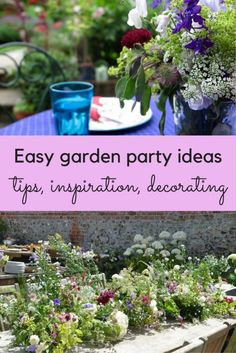 Easy garden party ideas and inspiration jam jar flowers, vintage garden par Small Space Gardening, Small Gardens, Vintage Garden Parties, Small Garden Party Ideas, Vintage Gardening, Garden Party Decorations, Outdoor Decorations, Outdoor Ideas, Garden Privacy