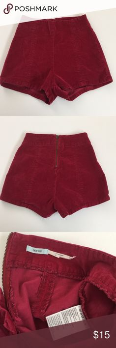UO Kimchi Blue Velvet High Rise Shorts, size 0 Urban Outfitters Kimchi Blue red burgundy velvet high rise shorts in size 0. Rise is 10.5 and inseam is 2. Made from 98% cotton and 2% spandex, very stretchy. In excellent condition. Please ask if you have any questions. Urban Outfitters Shorts