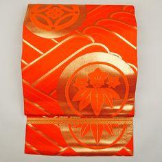 Orange, silk maruobi / 金色すり箔で大振りに古典柄を施した若々しさのある丸帯 http://www.rakuten.co.jp/aiyama #Kimono #Japan #aiyamamotoya