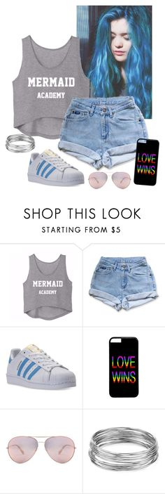 """""""Everything is blue"""" by naiaraformigoni on Polyvore featuring moda, Levi's, adidas, Oliver Peoples e Aqua"""