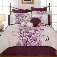 Pointehaven Grapevine Duvet Cover Set (Purple) ($80) ❤ liked on Polyvore featuring home, bed & bath, bedding, duvet covers, purple, purple queen bedding, king shams, king duvet set, queen duvet set en king size shams