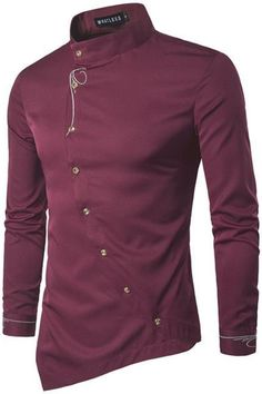 Cheap male shirt, Buy Quality men casual shirt directly from China men shirt Suppliers: Men Shirt 2017 Spring Personality Oblique Button Irregular Men Casual Shirt New Arrival Long Sleeve Casual Slim Fit Male Shirts Long Sleeve Shirt Dress, Long Sleeve Shirts, Dress Shirts, Mode Costume, Business Shirts, Business Casual, Tuxedo For Men, Casual Shirts For Men, Men Shirts