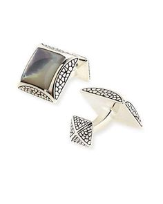 N2VD7 Stephen Webster Square Mother-of-Pearl Cuff Links