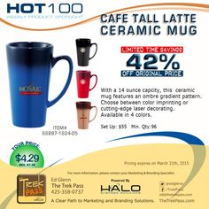 Tall Latte Ceramic Mug – 14 oz  Make your brand part of their morning routine with this stylish ceramic mug decorated with your logo. Featuring a tall, café-style design and trend-right ombre coloring, this cozy, 14 oz mug is sure to be their go-to cup.  #promoproducts #branding #promotionalproducts #coffeemug #marketing #latte #advertising #drink #gift #adspecialties #sale #booth #ombre #Halobrandedsolutions #office