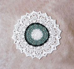 Paris Lace Crochet Doily New Table Decor, Shades of Green and White, French Country by NutmegCottage on Etsy