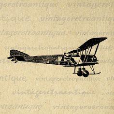 Antique Airplane Digital Image Printable Vintage Plane Graphic Download Clip Art Jpg Png Eps 18x18 HQ 300dpi No.3295 @ vintageretroantique.etsy.com #DigitalArt #Printable #Art #VintageRetroAntique #Digital #Clipart #Download