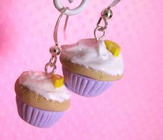 Lavender Lemon Polymer Clay Cupcake Earrings, Kawaii Clay Fake Food Jewelry, For Girls, with White Frosting, Cute Charm Cyber Monday Use coupon code PIN10 to get 10% off your order!