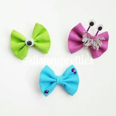 Monsters Inc bow. Sulley Mike and Boo hair by PixieDustPrettiess
