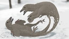 Snowbouncers, a carnivorous Goose-like creature from the northern mountains of Esperit, fight ferociously over territory.