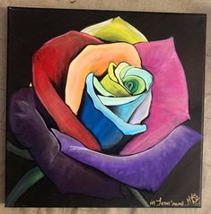 Acrylic Painting on Canvas Rainbow Roses are beautiful 💙 Rainbow Roses, Acrylic Painting Canvas, Custom Art, Peace And Love, The Dreamers, Disney Princess, Disney Characters, Handmade Gifts, Artist