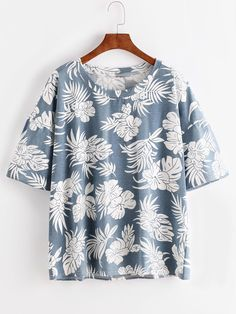 ROMWE - ROMWE Blue Florals Drop Shoulder T-shirt - AdoreWe.com