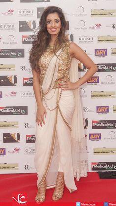 DJ Noreen at UK Medical Aid to Pakistan Gala Dinner with Fawad Khan Dhoti Saree, Saree Gown, Sari, Saree Draping Styles, Saree Styles, Indian Attire, Indian Wear, Indian Dresses, Indian Outfits
