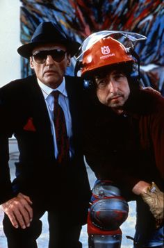 wandrlust: Dennis Hopper and Bob Dylan in Backtrack, 1989.