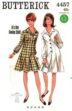"""Butterick 4457 Step-In """"Swing Shift"""" Dress 1960's"""