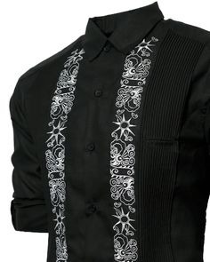"""The Limited Edition Lux Linen """"Black Clouds Part"""" Y.A.Bera guayabera shirt is here! Featuring our wrinkle resistant linen blend fabric in Deep Black with steel grey embroidered artwork from a Venezuelan based artist titled """"The Clouds Part"""". With two large waist pockets that can easily fit any phone or wallet & a small """"cigar pocket"""" at the chest makes it the perfect shirt to wear anywhere, especially if you don't mind being noticed."""