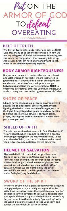 Put on the armor of God to defeat overeating.