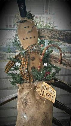 Primitive cloth doll PATTERN Winter Thyme Bag KPD