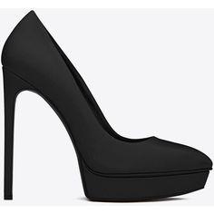 Saint Laurent Classic Janis 105 Escarpin Pump ($805) ❤ liked on Polyvore featuring shoes, pumps, heels, black, yves saint laurent, black high heel shoes, platform pumps, heels & pumps, high heel pumps and high heel shoes