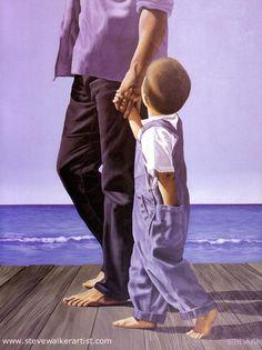 """""""Little Man, Big Man"""" 1999  acrylic on canvas, 48"""" X 36""""  by Steve Walker"""
