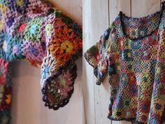 Facile Cecile. Gorgeous crochet top, using granny squares. Love it.