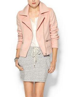 Piperlime Collection Womens Short Wool Moto Jacket - Pale blush by: Piperlime Collection @Piperlime