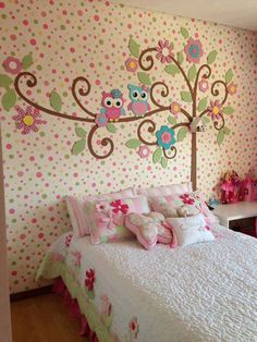 the polka dot wall is more than I could do but love the tree, maybe polka dots on the other walls