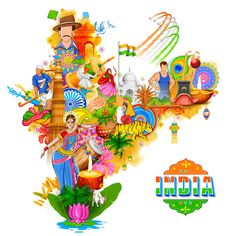 Illustration about Illustration of India background showing its incredible culture and diversity with monument, dance and festival. Illustration of monument, culture, mahal - 83468977 Incredible India Posters, Indian Flag Images, Indian Independence Day, Independence Day Drawing, Happy Independence, Indian Illustration, India Painting, India Map, India India