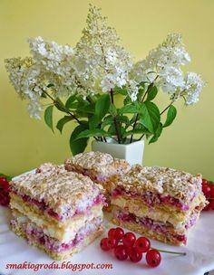 Smaki ogrodu: KOKOSOWA PYCHOTKA Z CZERWONĄ PORZECZKĄ Polish Cake Recipe, Polish Recipes, Polish Food, Hungarian Cake, Traditional Cakes, Food Cakes, Coffee Cake, Cake Recipes, Recipies