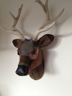 Inspired by the colours of the Scottish landscape and traditional fabrics, April Barrie creates her textile taxidermy, such as 'Atholl (Stag Head II)'. See her work at #aafhampstead with Eduardo Alessandro Studios. 36 x 26cm. £295. #artunder500