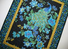 Another Peacock Wall Hanging or Table Topper by PicketFenceFabric, $42.95