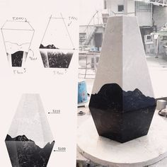 Caesarstone in collaboration with Design Space Gallery at the Fresh Paint Art Fair 2014 - vases made of Caesarstone surfaces by Shira Keret and Itay Laniado  #caesarstone #quartz #design #material #art #productdesign #inspiration #vase