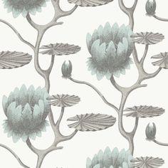 Cole & Son SUMMER LILY AQUA/WHITE Wallpaper
