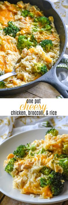 A quick and easy dinner, this One Pot Cheesy Chicken Broccoli & Rice combines your entree and sides into one simple dish. Bound together with a heaping helping of shredded cheese, it's always a family favorite.