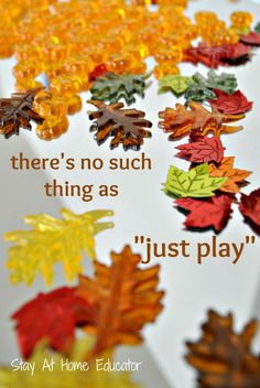 Fall theme invitation to play, because play matters in early childhood education, especially loose parts play like this.