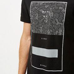Black longline leopard print T-shirt