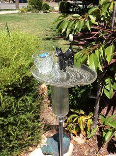 Bird bath feeder, garden art, black cat, bird watcher, bird feeder, glass yard art, recycled garden art, totem, house warming gift, by DebsDishDesigns on Etsy