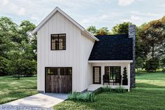 Narrow Lot House Plans, Best House Plans, Small House Plans, Narrow House Designs, Board And Batten Exterior, Carriage House Plans, Modern Farmhouse Plans, Farmhouse Style, Up House