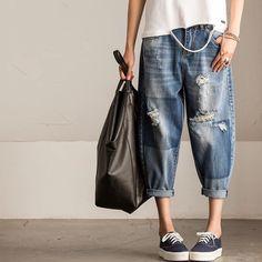 Vintage blue pants summer loose Cowboys trousers