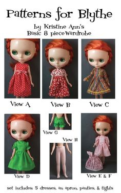 Basic Wardrobe Pattern for Blythe Dolls by KristineAnns on Etsy, $8.00