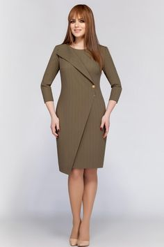 DilanaVIP dress, khaki (model – Belarusian knitwear in the Sewing Tradition online store - Kleidung Ideen Simple Dresses, Casual Dresses, Dresses For Work, Classy Dress, Classy Outfits, Dress Outfits, Fashion Dresses, Winter Mode, Western Dresses