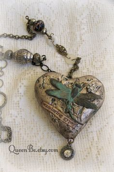 Mixed Media Altered Gypsy Necklace Altered Necklace Vintage Dragonfly Necklace Vintage Mixed Media Vintage Gypsy Jewelry Heart Pendant by QueenBe on Etsy https://www.etsy.com/listing/248305286/mixed-media-altered-gypsy-necklace