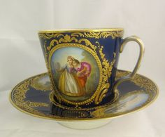 Sevres Porcelain Cup and Saucer Hand Painted XVIII c.