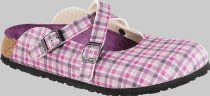 Birkis clogs Dorian from Birko-Flor in Check Lilac Gray with a narrow insole