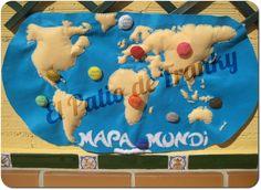 Mapamundi a lo grande con globos de continentes y océanos.  http://elpatiodefranky.blogspot.com.es/