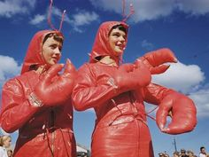 """Rock lobster: A quirky Luis Marden portrait from the National Geographic archives, shows """"Lobsterettes"""" from a Rockland, Maine, festival in Lobster Costume, Rock Lobster, Lobster Shack, Festival Image, Coast Dress, Markova, Museum, Funny Couples, Two Girls"""